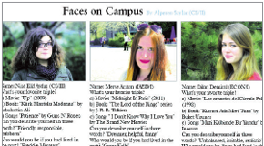 "Looking for a Friendly Interviewer to Do ""Faces on Campus"""