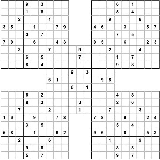 picture about Sudoku Samurai Printable referred to as Bilkent Information PUZZLE PUZZLE PUZZLE